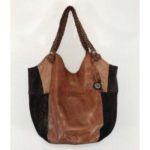 The Sak Brown Leather Patchwork Boho Hobo Bag